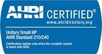 AHRI Certified - Unitary Small HP